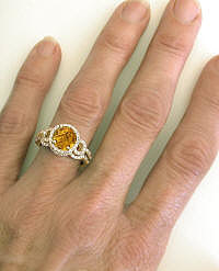 Citrine Engagement Ring with Matching Contoured Wedding Band