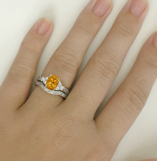 Citrine and Diamond Engagement Ring with Engraving in 14k white