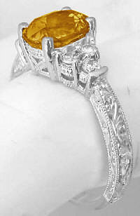 Antique Engraved Citrine Diamond Ring