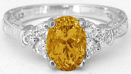 Citrine Diamond Ring Engraved Antique Style