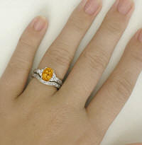 Vintage Antique Citrine Wedding Set