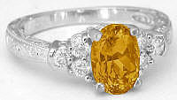 Citrine Diamond Engagement Ring in 14k white gold