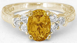 Vintage Style 1.50 ctw Citrine and Diamond Engagement Ring in 14k yellow gold