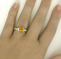 Citrine and Diamond Ring with Engraving in 14k gold