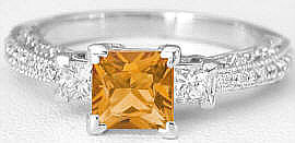 Vintage Style 1.26 ctw Princess Cut Citrine and Diamond Ring in 14k white gold