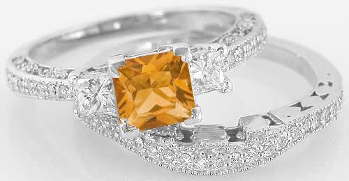 Princess Cut Citrine Engagement Ring and Matching Wedding Band