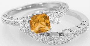 Princess Cut Citrine and Diamond Engagement Ring Wedding Band