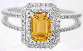 Diamond Engagement Ring with Emerald Cut Citrine