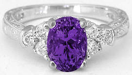 Oval Amethyst Diamond Rings with Engraving