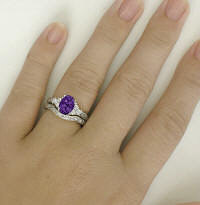 Amethyst Engagement Rings with Wedding Band