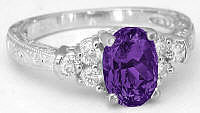 Ornate Vintage Style Amethyst Engagement Rings