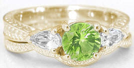 Ornate 1.28 ctw Peridot and White Sapphire Engagement Ring in 14k yellow gold