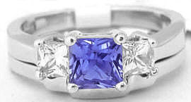 Princess Cut Tanzanite Three Stone Engagement Ring in 14k white gold
