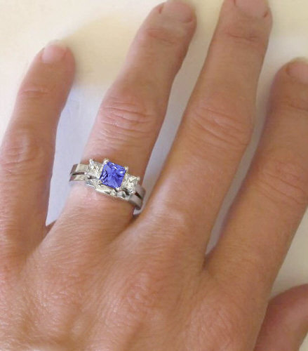Three Stone Engagement Ring Princess Cut Tanzanite and ...