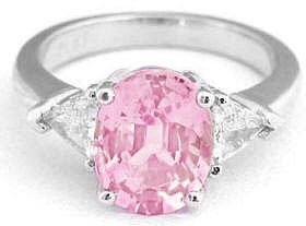 Natural Oval Pink Sapphire Ring in 14k