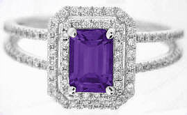 Emerald Cut Amethyst and Diamond Halo Ring
