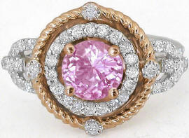 Unique Natural Round Pink Sapphire and Diamond Statement Ring with Real Diamond Halo and Rose Gold Rope design halo in 14k white gold