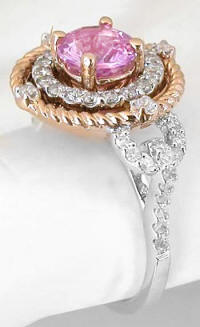 Round Pink Sapphire and Diamond Halo Rope Design Ring