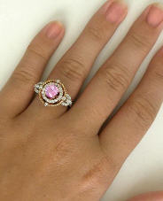 Natural Round Pink Sapphire and Diamond Ring in 14k white and rose gold