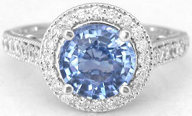 Ceylon Light Blue Sapphire and Diamond Ring in 14k white gold with matching b