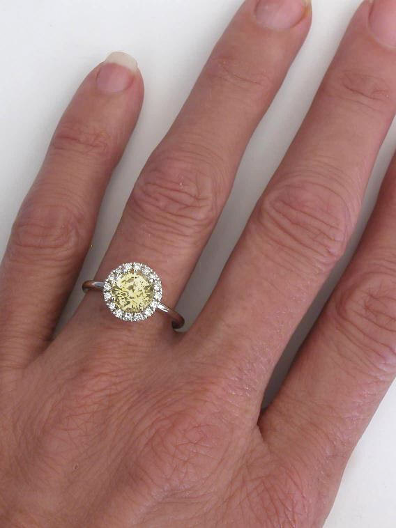 Unheated Yellow Shire And Diamond Halo Engagement Ring In 14k White Gold