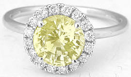 Round Unheated Yellow Sapphire and Diamond Ring