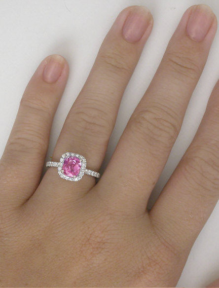 Cushion Pink Sapphire Surrounded By Diamond Halo In A
