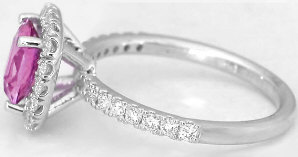 Cushion Cut Pink Sapphire and Diamond Halo Ring in 14k white gold
