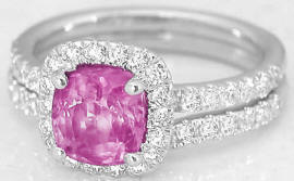 Pink Sapphire and Diamond Engagement Ring in 14k white gold and Wedding Band