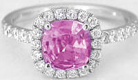 Cushion Cut Pink Sapphire Engagement Ring in 14k white gold