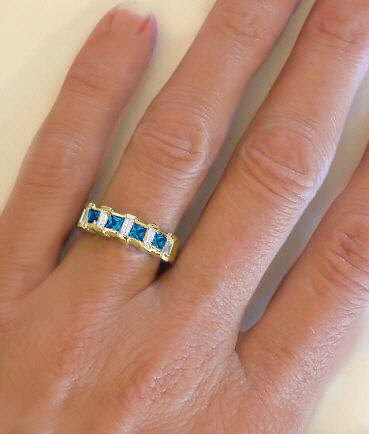 London Blue Topaz Wedding Bands Yellow Gold