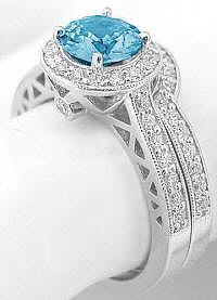 Diamond Halo Engagement Rings with Round Swiss Blue Topaz
