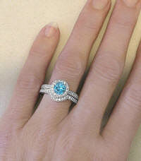Swiss Blue Topaz and Diamond Halo Engagement Ring with Wedding Band