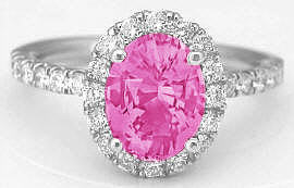 Oval Pink Sapphire Engagement Ring with Diamonds