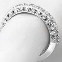 0.28 ctw Diamond Band in 14k White Gold with Beaded Detail
