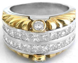 3.0 ctw Princess-Cut Diamond Ring in Platinum and 18k yellow gold