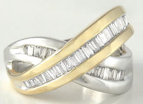 Criss Cross Baguette Diamond Fashion Ring in 14k white and yellow gold