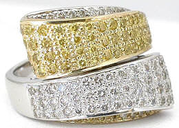 Genuine Diamond Fashion Ring in Two Tone White and Yellow Gold