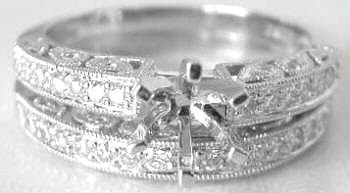 Vintage Styled 0.54 ctw Diamond Semi-Mount and Wedding Ring in Platinum