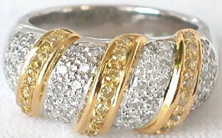 0.75 ctw Yellow and White Diamond Ring in Platinum (w/ 18k yellow gold accents)