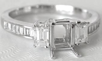 0.65 ctw Baguette Diamond Semi-Mount in Choice of Metals