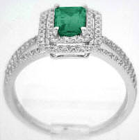 Emerald and Diamond Engagement Ring in 14k