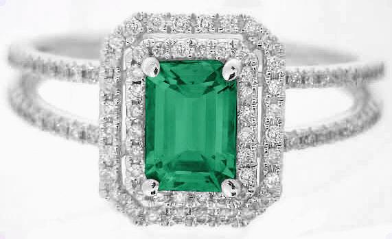 green gemstone emerald ring in 14k white gold er 100. Black Bedroom Furniture Sets. Home Design Ideas