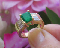 Natural Emerald Cut Emerald Ring wth Real Baguette Diamond Ring in 14k yellow gold for sale