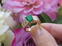 14k yellow gold Natural Emerald Cut Emerald Ring wth Genuine Baguette Diamond Ring