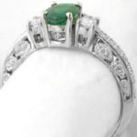 Emerald Diamond Engagement Ring in 14k white gold