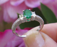 Vintage Style Natural Emerald Engagment Ring in 14k white gold for sale