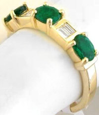 alternating Emerald and Baguette Diamond Ring in 18k yellow gold
