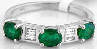 Emerald Anniversary Band Ring in 18k
