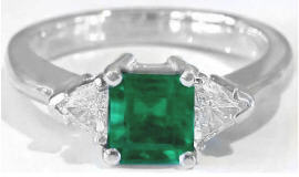 1.07 ctw Three Stone Colombian Emerald and Trillion Diamond Ring in 14k white gold